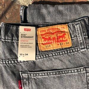 Levi's black 514 straight leg stretch jeans 33/34